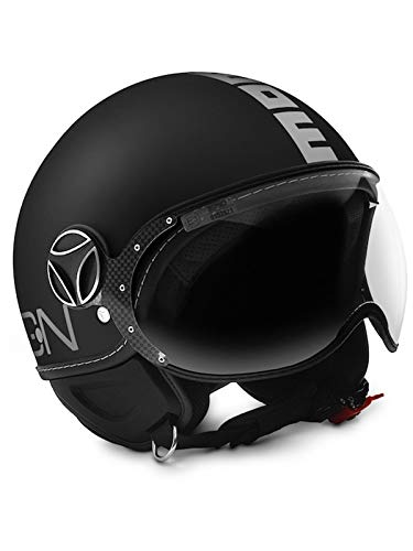 MOMO Design Casco Classic color negro mate/plata, talla L