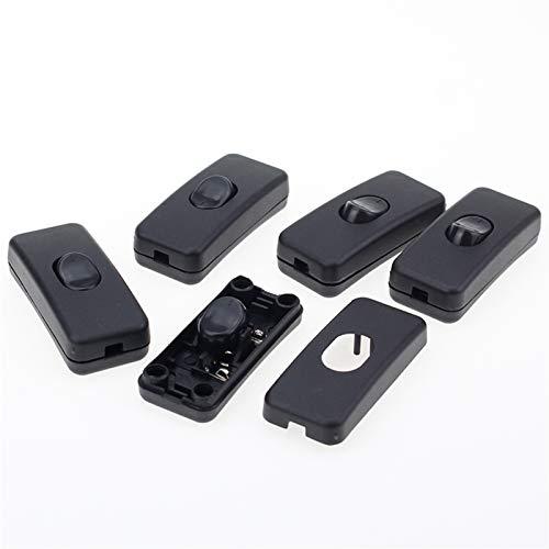 HGLNBN Interruptor basculante 5pcs / Lot el Interruptor ON/Off Inline Inline Negro Tabla lámpara de Escritorio Luz y Cable Cable 110-250V (Color : Black)