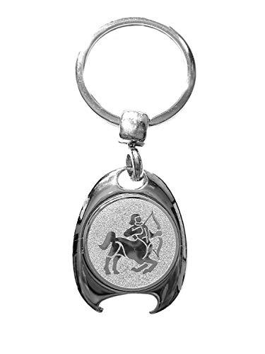 Sterrenbeeld beschermer motief sleutelhanger, zilverkleurig, in elegante geschenkdoos met winkelwagenchip en flesopener | Cadeau | Mannen | Vrouwen | Sport | Chip | Boodschappenschip | Opener