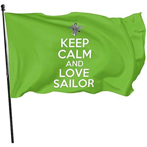 AmyNovelty House Yard Flags,Guarde La Calma Y Ame Las Banderas De La Yarda del Poliéster De La Bandera del Marinero para La Decoración del Jardín De La Casa 120x180cm