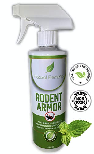 Natural Elements Rodent Armor- Premium Peppermint Oil Mouse Repellent Spray- Vehicle, Boat, RV, Tractor, Equipment - All Natural - Child and Pet Safe - Indoor/Outdoor Spray - 16 oz