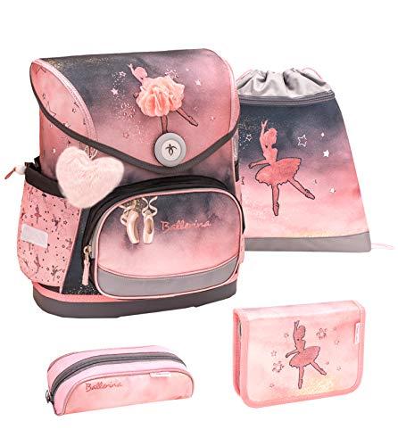 Belmil ergonomischer Schulranzen Set 4 -teilig für Mädchen 1-4 Klasse Grundschule//Brustgurt/Magnetverschluss/Ballerina/Rosa, Grau, Schwarz (405-41 Ballerina Black Pink)