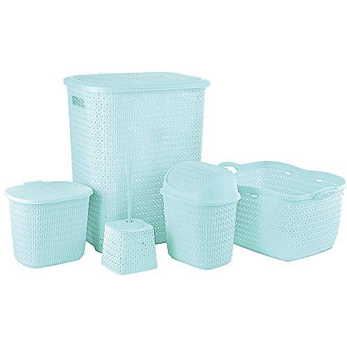 Hoffmanns Badezimmer-Set - Wäschesammler - Wäschekorb - Kosmetikeimer - Badeimer - WC-Bürstengarnitur in einem Set (türkis)