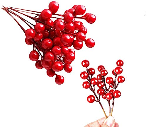 QBOSO 20 PC Red Berry Picks Artificial Red Berries Stamens (6 inch) Perfect for Christmas Decor,DIY Wreath, Garland or Tree,Great Ornaments to Any Decoration 6 inch (red Berry 20PC)