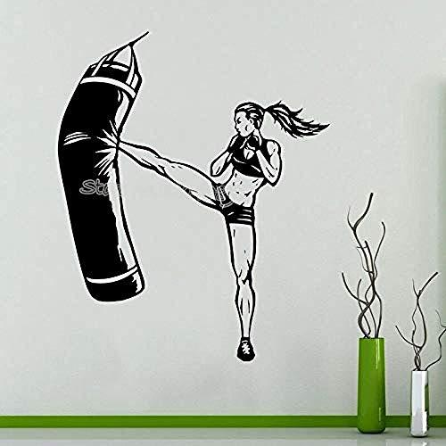 Wandtattoos Wandsticker Sportlerin Taekwondo Karate Kampfkunst Wandtattoo Kickboxen Boxer Sport Gym Schlafzimmer Dekoration Kunst Wandbild 56X67cm