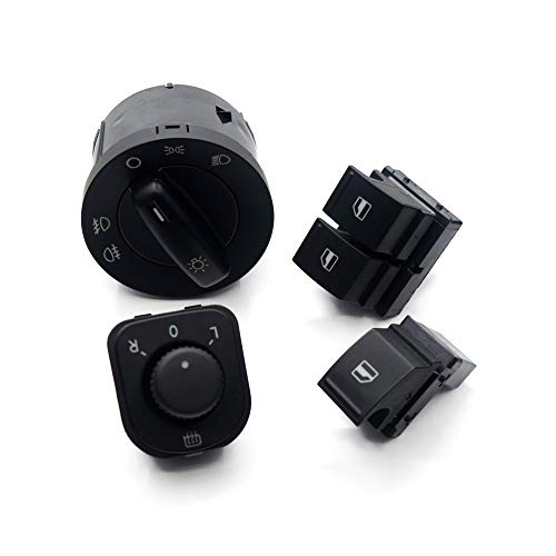 NAWQK Botón de Interruptor de Espejo de Windowlight de 4set 1k0 941 431q 1k0 959 565h 1k3 959 857a 1k3 959 855 Fit for EOS Golf 5 6 GTI Fit para PA * SS * en CC