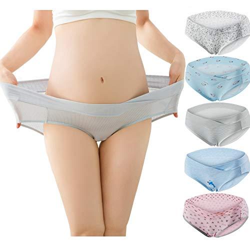 Dreamdeal Damen Umstandsmode Niedrig-Taille Schwangerschaft V-förmigen Baumwolle Schwangere Unterhose Mutterschaft Unterwäsche (5pcs Color4, L)