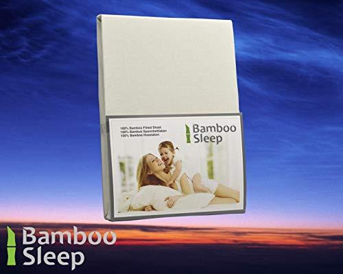 BambooSleep BT180200ivoor Hoeslaken topdekmatras, 180 x 200 cm, 100% bamboe, Bamboe, Ivoor