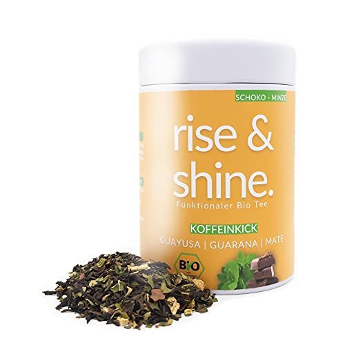 DrinkTea Rise & Shine Bio Wachmacher Tee | Loser Energytee für mehr Leistung, Ausdauer & Konzentration | Natürliches Koffein aus Guayusa, Guarana, Yerba Mate | Schoko Minze (60g)