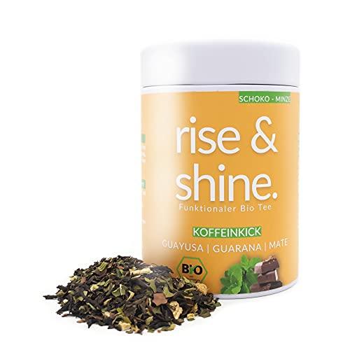 DrinkTea Rise And Shine. Bio Guten Morgen Tee | natürlich süß | Gesunder Kaffee Ersatz | Guayusa-Guarana-Mate | Schoko-Minze | Loser funktionaler Kräuter-Tee | Wake Up Tea | Koffein-Kick