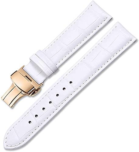 PINGZG Watchands Strap de Cuero Genuino 12 mm-24mm Reloj de Relojes para Hombres y Mujeres Accesorios de Relojes de Relojes de Reloj (Color : White, Size : 12mm)