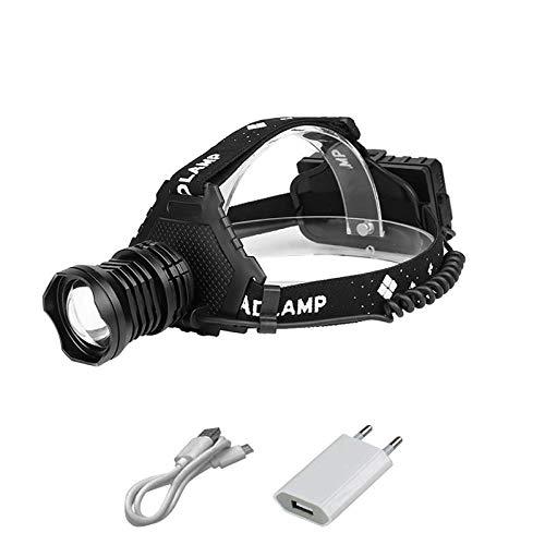 Lampe frontale XHP90.2 de haute puissance LED Lampe de poche Zoom USB Lampe frontale Lampe de poche 18650 Banque de puissance 8000 mAh Lampe frontale de randonnée Pêche Phare