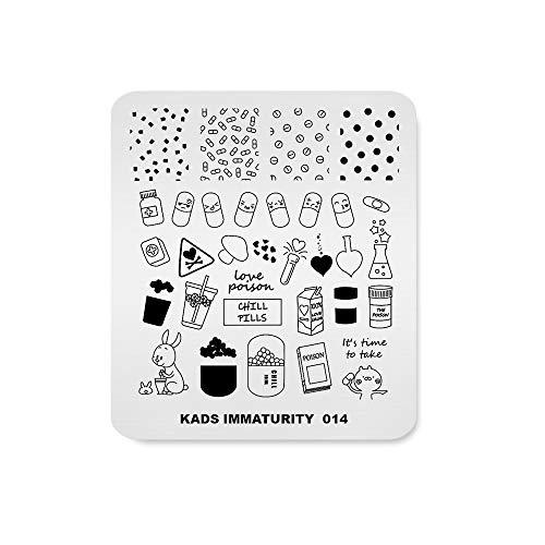 Plaque à emboutir assiette Mode Pilule mignonne Médecine Glace Points de thé Thème Motif Multi-motifs Imprimer Modèle de tampon d'image Nail Art