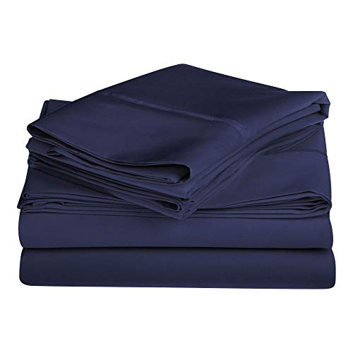 4 Piece Modern & Contemporary 100% Egyptian Cotton Sheet Set All Season Solid Color 1200 Thread Count Deep Pocket Flat Fitted Sheet California King Luxury Comfy Bedding Stylish Navy Blue Bed Sheets