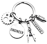 Engineer Keychain Mechanical Engineer Design Engineering Graduation Gear Charm Ruler Compass Pencil Engineer Teacher Gift Mathematics Structural Engineering Key Ring