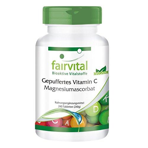 Gebufferde vitamine C tabletten als magnesium ascorbaat - VEGAN - 240 tabletten - maagvriendelijk