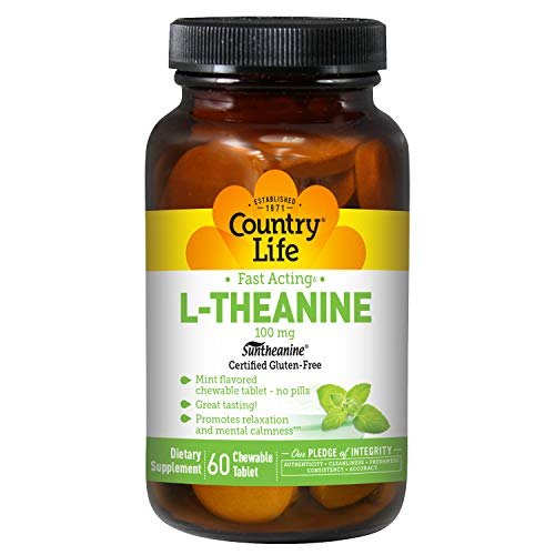 Country Life L-Theanine 100 mg - 60 Smooth Melts - Mint Flavored - Promotes Relaxation & Mental Calmness - Fast Acting
