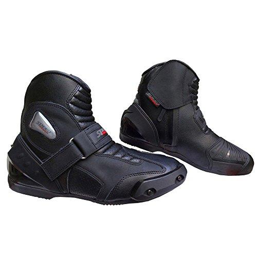Chaussures de sport en cuir véritable High Tech pour homme pour moto Racing Bottes courtes noir Noir UK 12 - EU 46