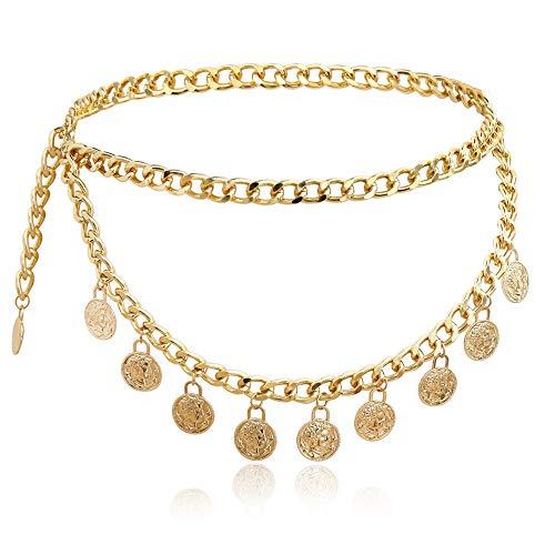 N\A Metallic Dehnbare Kette Gürtel, Mode Gürtel Kette Für Frauen Einfache Metallring Taille Kette Gold Einstellbarer Haken Haken-Kleid-Gurt-Körper-Kette,C