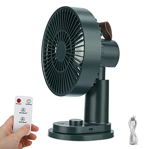 Ventilator,Leise Tischventilator mit Clip 180 ° Schüttelkopf 4000mAh Akku Mini USB Ventilator mit Fernbedienung Luftzirkulator Turmventilatoren für Schlafzimmer Büro Kinderwagen Camping