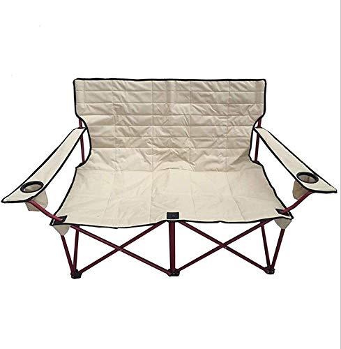 Acampar sillas de playa doble Sillón al aire libre silla con silla de picnic titular de la botella for la pesca de playa Los días de campo caminando al aire libre de senderismo de jardín plegable
