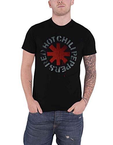 Red Hot Chili Peppers Camiseta Estampada con Logotipo Hombre, Negra: pequeña