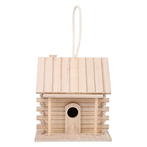Caja de nido de pájaros, pequeña casa de madera para alimentación de pájaros, bricolaje para criar loros, pajarera, jardín al aire libre, patio para golondrina, gorrión, pinzón, 7.1x6.3x6.7in