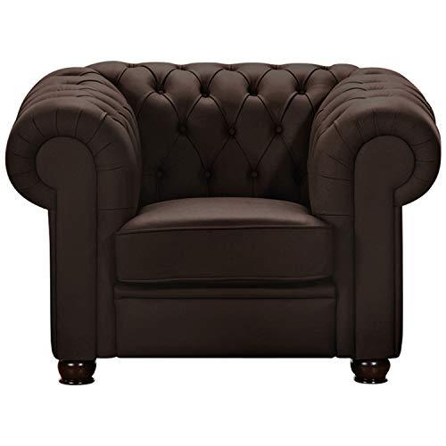 Max Winzer® Sessel Chandler, braun, pigmentiertes Nappaleder, Chesterfield, 110 x 98 x 76 cm