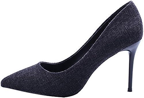 Olici MDRW-Lady Elegante Trabajo Ocio Muelle Commuter Moda Denim zapatos Una Multa con Tacones De 9Cm Boca Superficial All-Match zapatos negros Discoteca