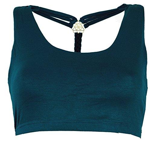 GURU SHOP Goa Psytrance Bikini Top, Top, Pixi Yoga Top, Damen, Petrol, Baumwolle, Size:36, Tops & T-Shirts Alternative Bekleidung