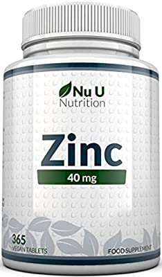 Zinc Tablets 40mg - 365 Tablets (12 Month's Supply) - 1 Easy to Swallow Zinc Gluconate Tablet Per Day - Made in The UK by Nu U Nutrition