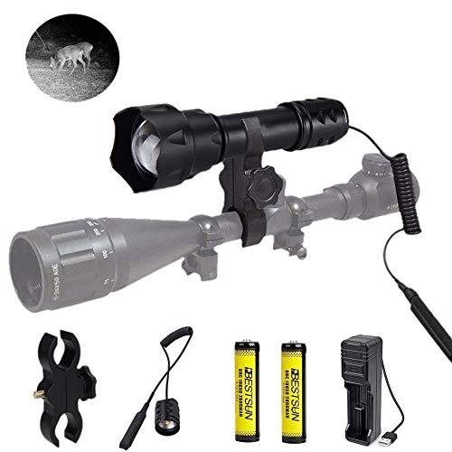 IR 850NM Lente de 38 mm Luz infrarroja Iluminador de visión nocturna de largo alcance Linterna Linterna táctica zoom con interruptor de presión, baterías recargables y cargador para caza nocturna