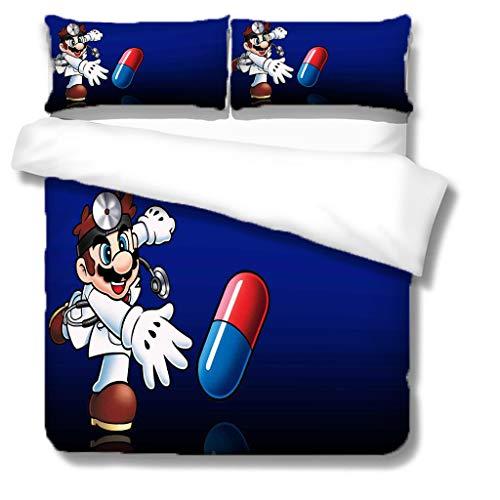 Zbeiba 3D Super Mario Bedding Set,2/3pieces Kids Bedding Set 100% Polyester (Duvet Cover + Pillowcase),#7,single duvet cover,135 * 200cm, Pillowcase 50x70cm