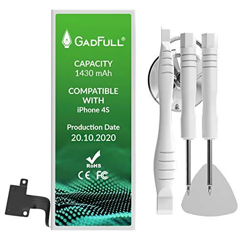 GadFull Batteria compatibile con iPhone 4S | 2020 Data di produzione | Manuale Profi Kit Set di Attrezzi | Batteria di ricambio senza cicli di ricarica | Con tutti gli APN originali