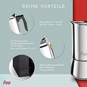 figg Espressokocher Edelstahl und Induktion geeignet - Espressokanne 6 Tassen - Mokka Kanne Set inkl. Anleitung, Dosierlöffel, Ersatz-Dichtung und Tragebeutel