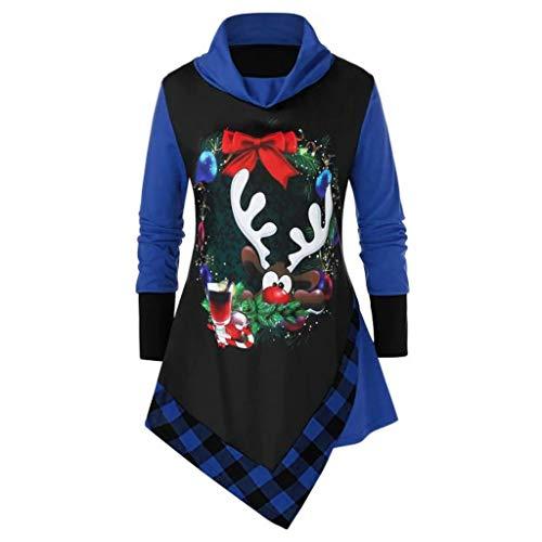 VEMOW Weihnachten Damen Strickpullover Lange Ärmel Rollkragenpullover Karneval Funny Strickpulli Printed Unregelmäßige Tops Stehkragen Tunika(Blau,3XL)