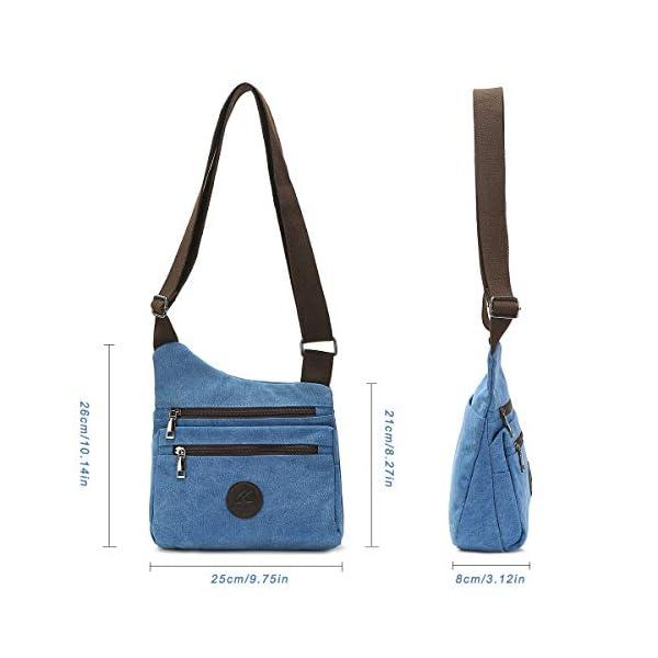 41LmLW9lNYL. SS600  - Eshow Bolso Bandolera a Hombro para Mujeres de Tela de Lona Shoppers Viaje Casual Trabajo Escolares