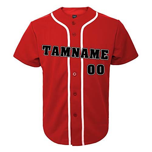TopTie Camiseta de béisbol de diseño Personalizado para Hombre, botón Completo, Rojo, Blanco, M