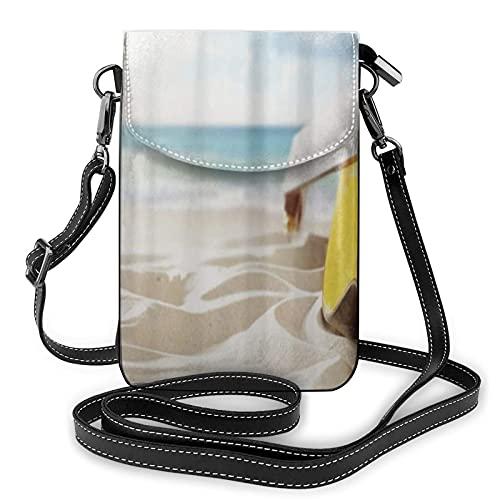 ADONINELP Leder Handytasche Umhängetasche Sunny Beach Gitarre Koffer Kleine Umhängetasche Handy Geldbörse Geldbörse Handtaschen Umhängetasche Sport Multifunktionale Handytasche für Frauen Mädchen Erw