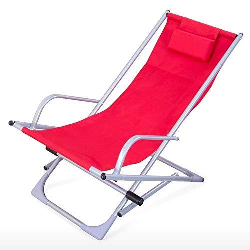 ZHANGYY Sillas de salón para Patio Sillón Plegable, sillón de Playa Ajustable, sillón Simple para Acampar al Aire Libre, sillón de jardín, Tumbona con reposacabezas, Duradero (Color: Rojo)