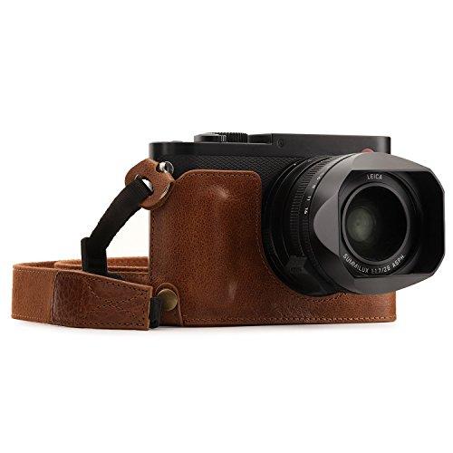 MegaGear Para Leica Q-P, Q (Typ 116) Estuche Ever Ready, Media funda, estuche de base, funda de pronto uso de cuero auténtico, con correa - Marrón Oscuro