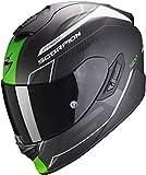 Scorpion Casco de moto EXO-1400 AIR CARBON BEAUX Matt White-Green, Negro/Verde, M (14-310-257-04)