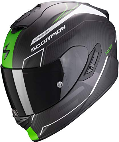 Scorpion Motorradhelm EXO-1400 AIR CARBON BEAUX Matt White-Green, Schwarz/Grun, L