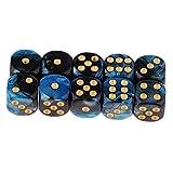 FLAMEER D6 Dados de Seis Caras para Juegos 16mm Dice Set de 10pcs - Azul + Negro