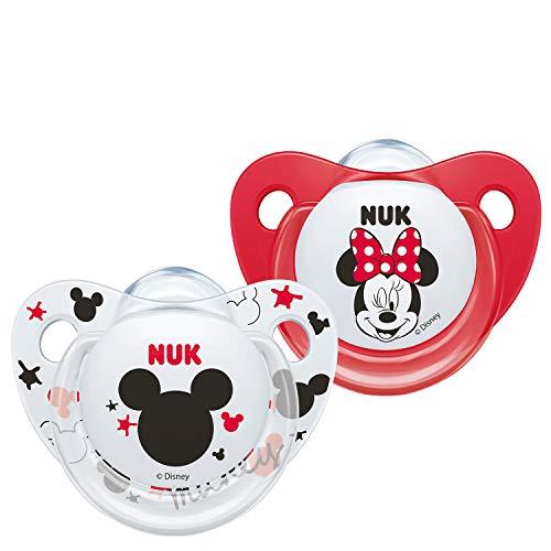 NUK - Ciucci Minnie Mouse Trendline, 6-18 mesi, senza BPA, set di 2 pezzi, modello casuale