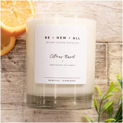 RE+NEW+ALL Artisan Candle | Citrus Basil | All Natural Soy Wax & Cotton Wick | 13.5oz | 60+ Hour Long Burn Time | Strong Scent Throw | Hand Poured By Trafficking Survivors 5