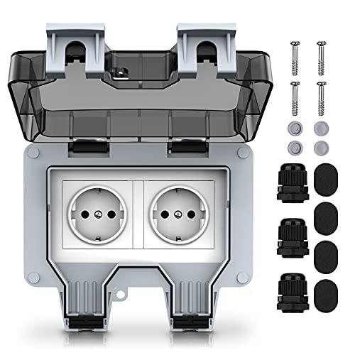 Toma de corriente externa, eléctrica, estanca, toma de pared con doble interruptor, clase de protección IP66, para jardín y garaje