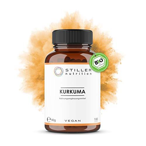 STILLER nutrition® Premium Bio KURKUMA 500mg Kapseln - 180 Kapseln - Hochdosiert - Curcuma - turmeric - Ayurveda Nahrungsergänzung - Bio-Qualität - Kontrolliert in Deutschland
