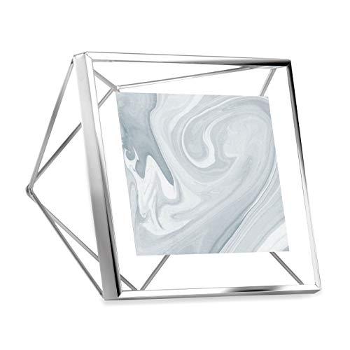 Umbra Prisma 10x10 cm Bilderrahmen - Wand- und Tisch Fotorahmen für Bilder, Kunstdrucke, Illustrationen, Graphiken und Mehr, Metall, Chrom, 10x10