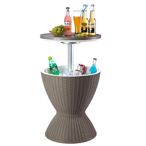 Nuzanto 30L/32Qt/8Gallon Rattan LED Beer Wine Ice Cooler All-Weather Adjustable Patio Cool Bar Hot Tub Ice Bucket Cocktail Coffee Side Table Outdoor Furniture for Party Pool Deck Backyard Brown